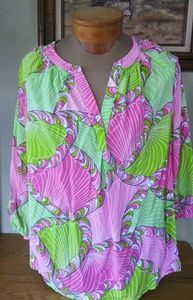 Crown & Ivy pink and chartreuse funky & bold top